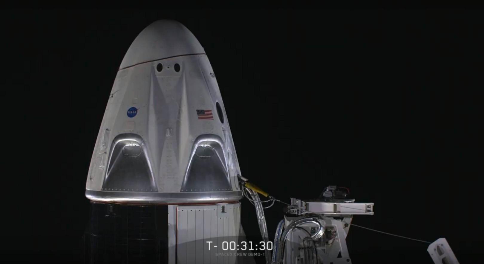 Crew Dragon Falcon 9 B1051 DM-1 webcast (SpaceX) 2