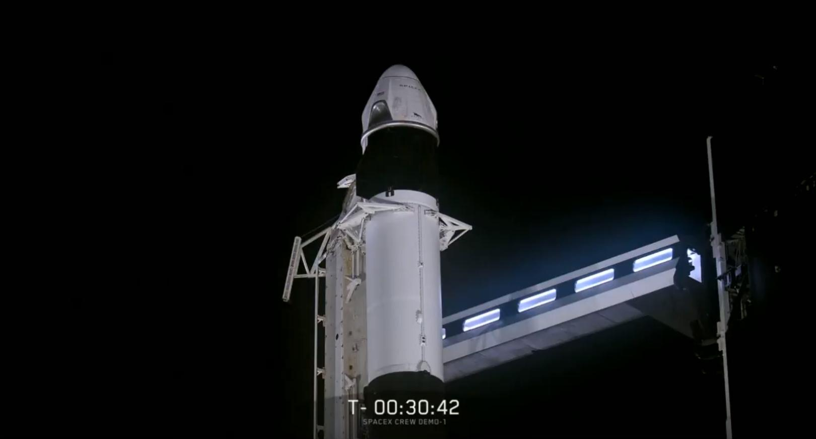 Crew Dragon Falcon 9 B1051 DM-1 webcast (SpaceX) 3