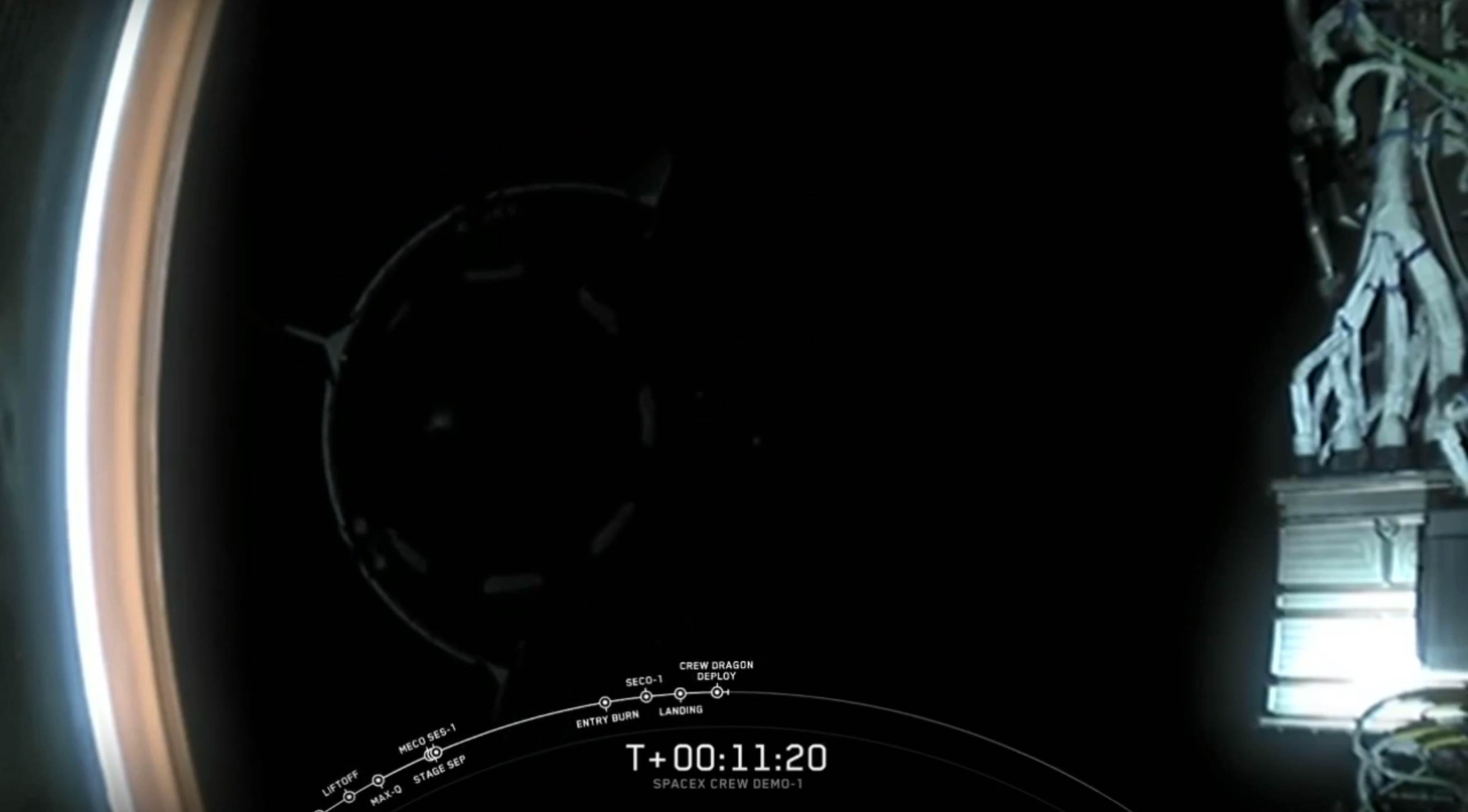 DM-1 Crew Dragon Falcon 9 B1051 deploy (SpaceX)