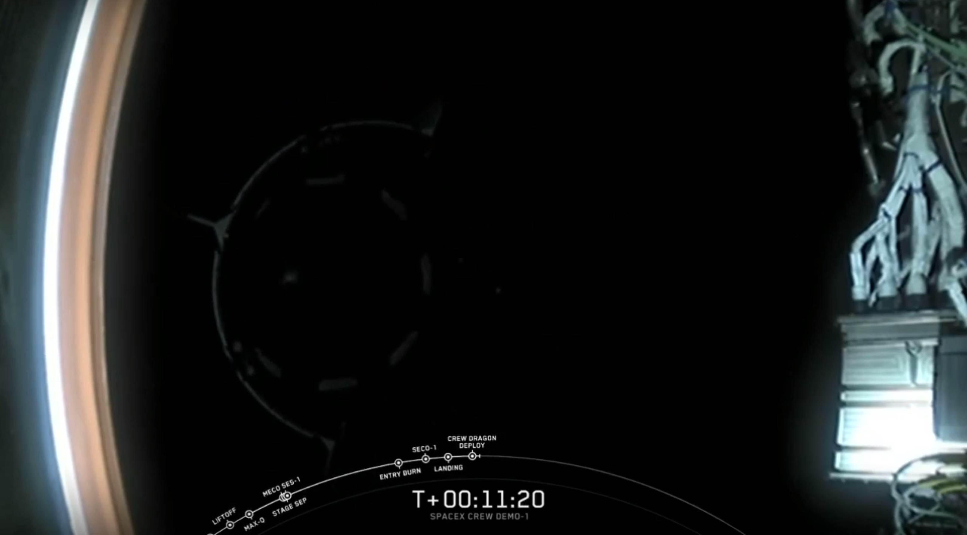 DM-1 Crew Dragon Falcon 9 B1051 deploy (SpaceX)