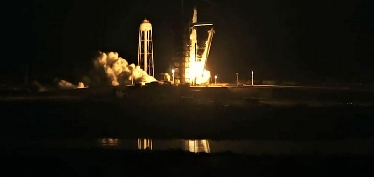 DM-1 Crew Dragon Falcon 9 B1051 launch (SpaceX) webcast 1 crop