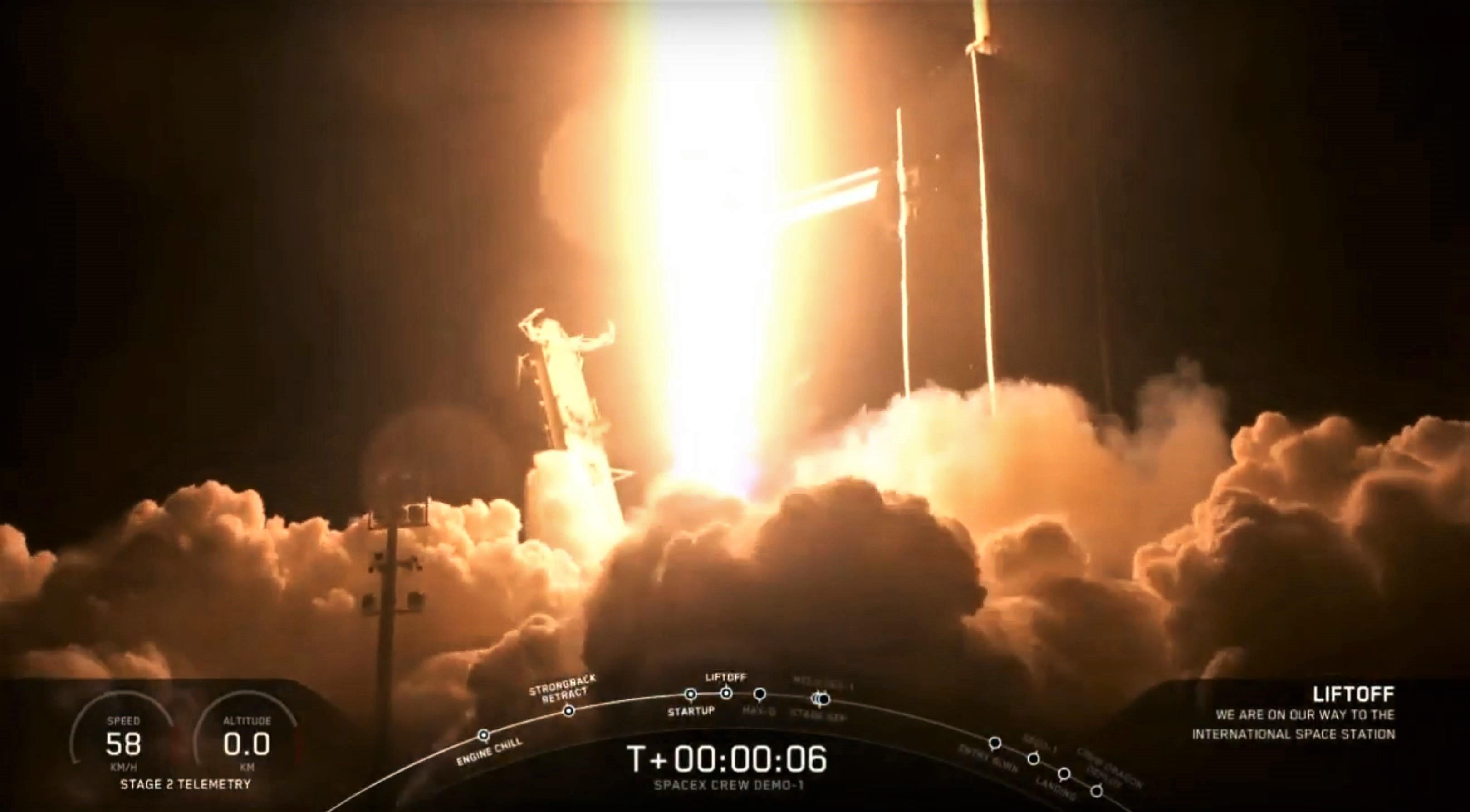 DM-1 Crew Dragon Falcon 9 B1051 launch (SpaceX) webcast 3