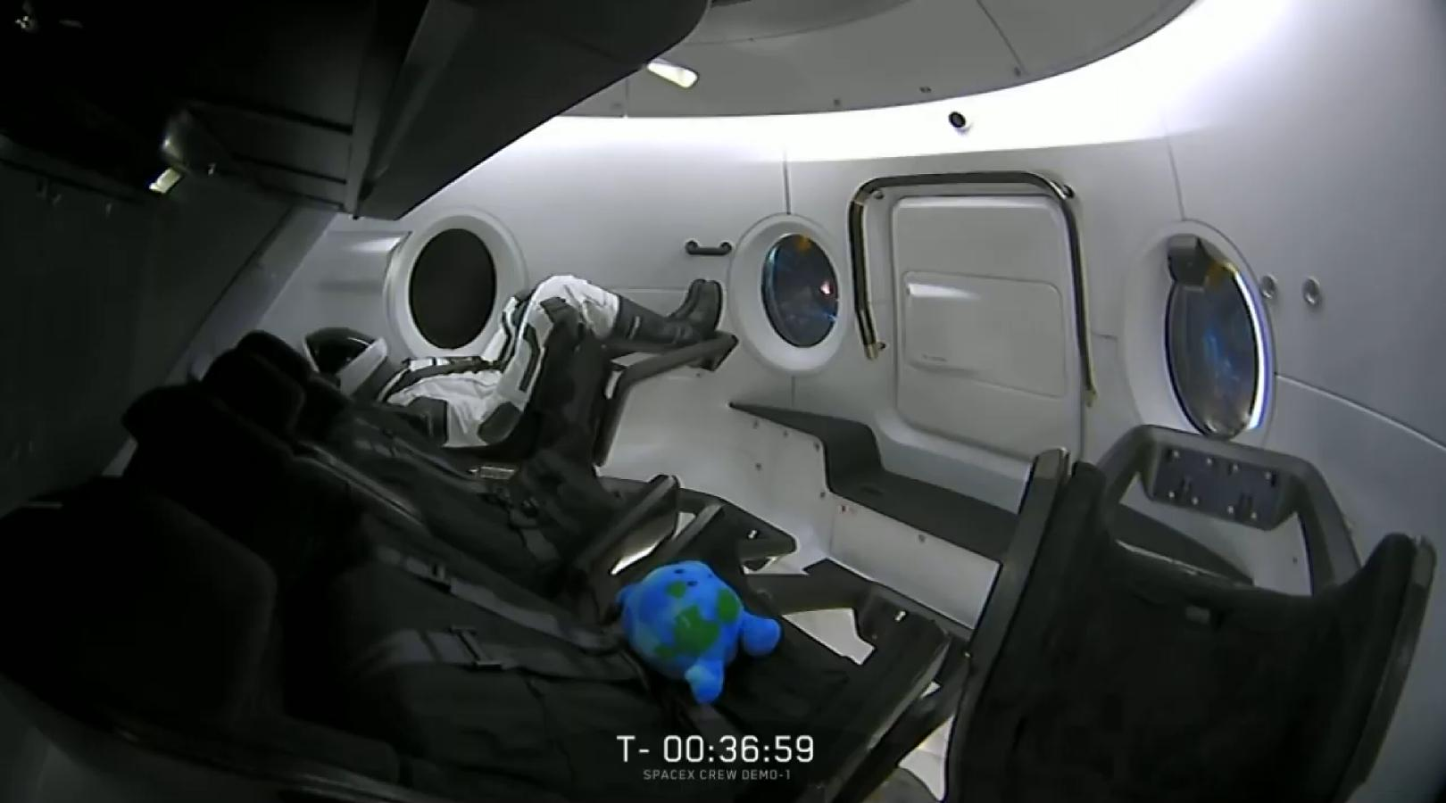 Earth ball and Ripley (SpaceX) 1