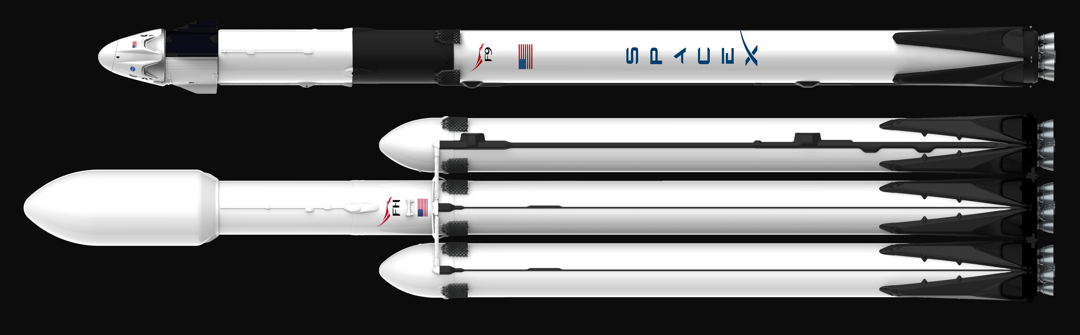 Falcon 9 Block 5 Dragon 2 and Falcon Heavy official render (SpaceX) 1 (c)