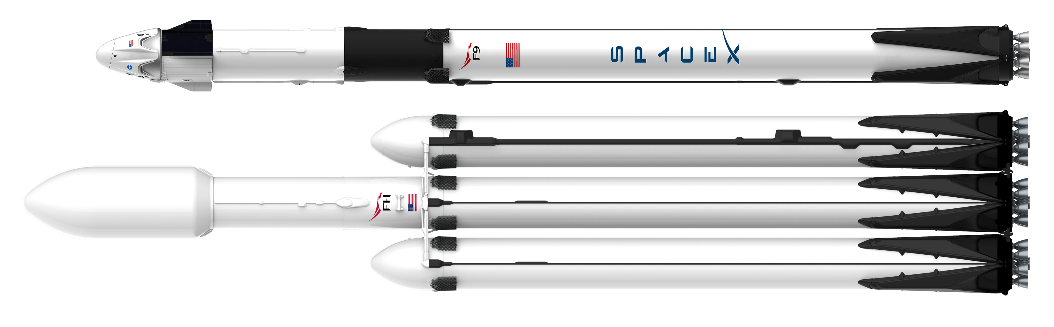 Falcon 9 Block 5 Dragon 2 and Falcon Heavy official render (SpaceX) 1 transparent (c)