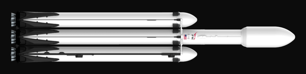 SpaceX's Falcon Heavy shown launching NASA Orion spacecraft in fan render