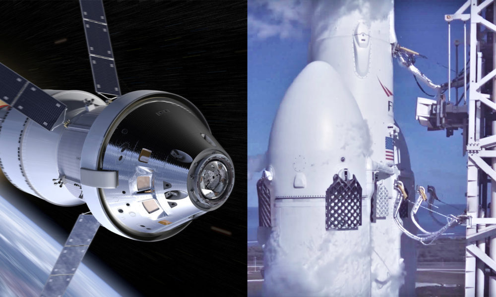 SpaceX's Falcon Heavy shown launching NASA Orion ...