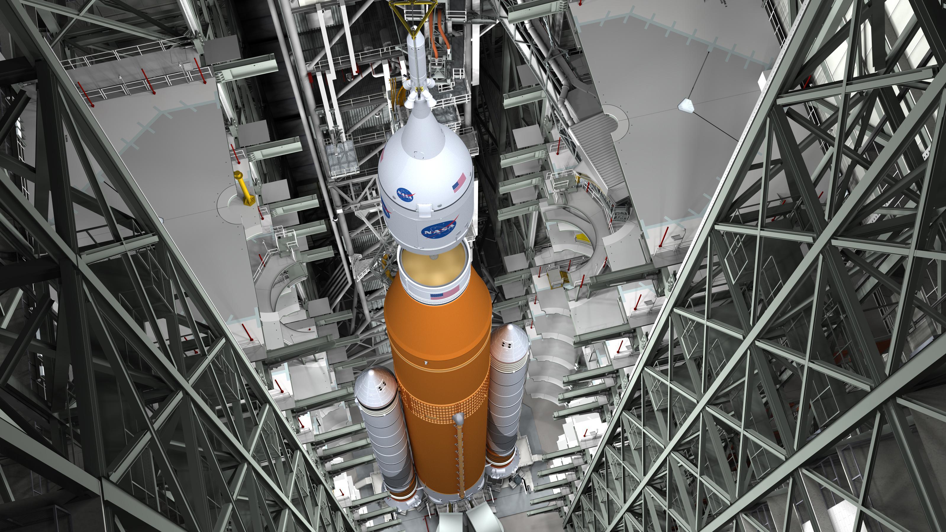 SLS and Orion stacking (NASA) 1