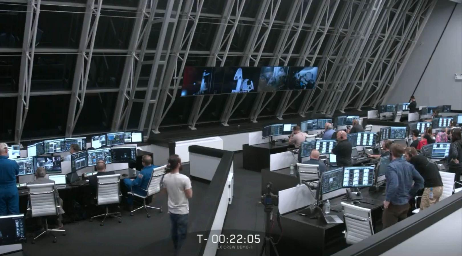 SpaceX and NASA mission control DM-1 (SpaceX)