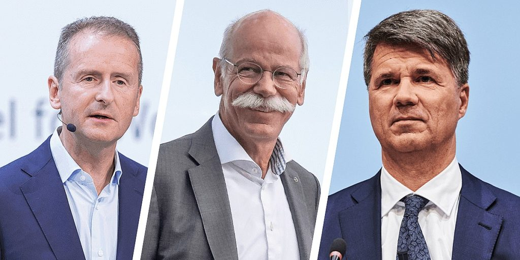 Volkswagen CEO Herbert Diess, Daimler CEO Dieter Zetsche, and BMW CEO Harald Krüger. (Credit: Electrive)