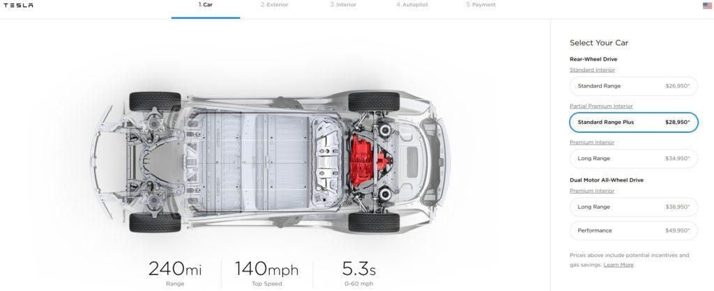 Tesla retires the Mid Range Model 3, leaving only Standard and Long Range
