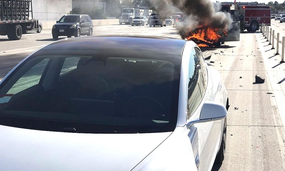 tesla model 3 protects owner from high speed crash that left gas powered car in flames. Black Bedroom Furniture Sets. Home Design Ideas
