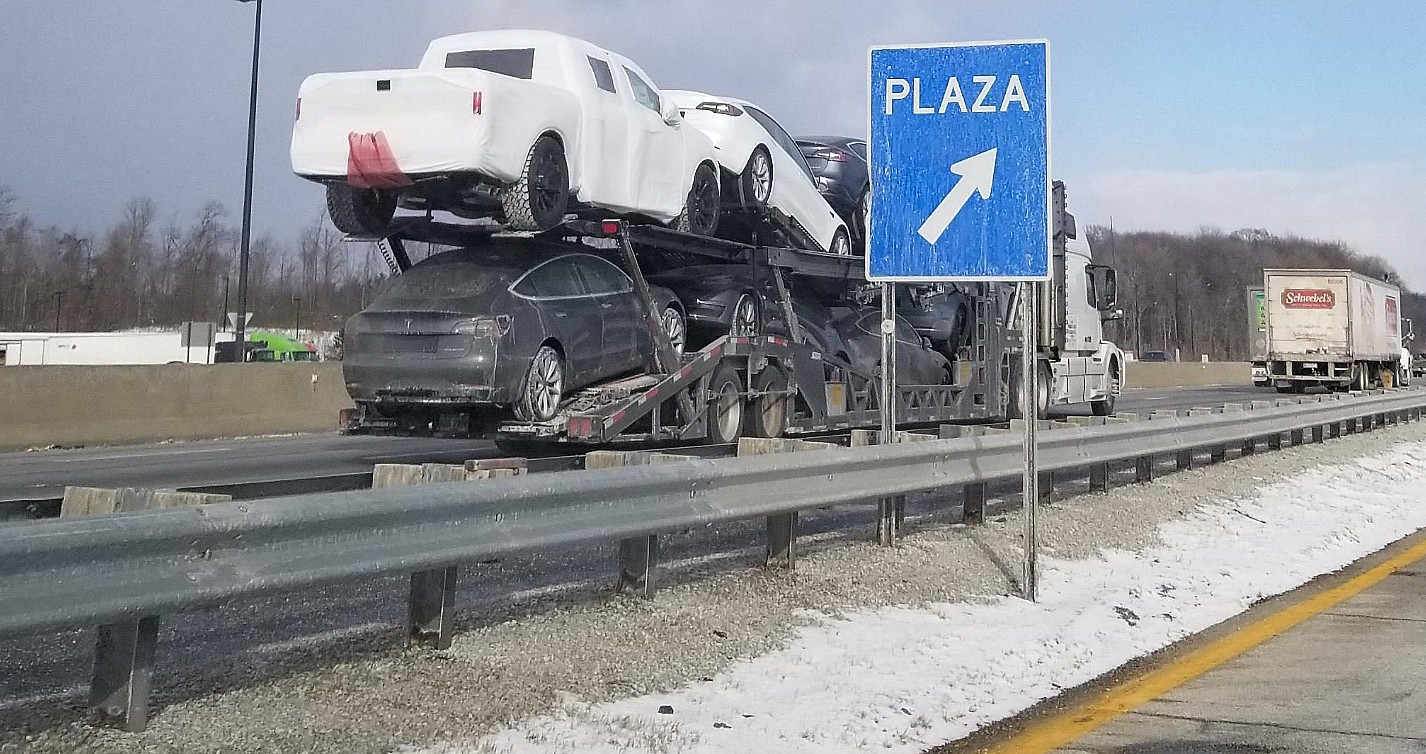 Tesla Pickup Truck Potential Test Mule Spotted On Carrier