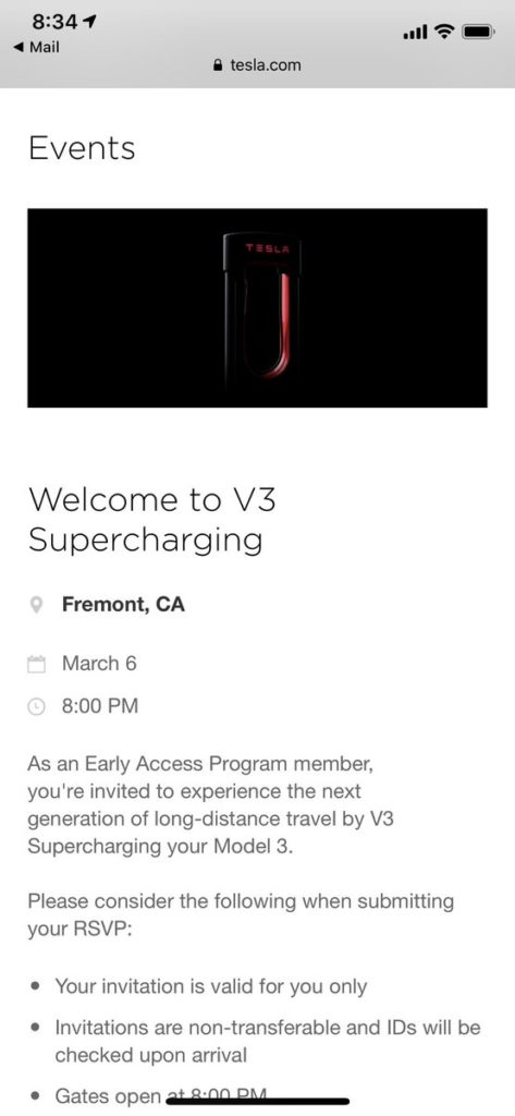 Tesla invitation to attend V3 Supercharging event in Fremont (Credit: @privater via Twitter)
