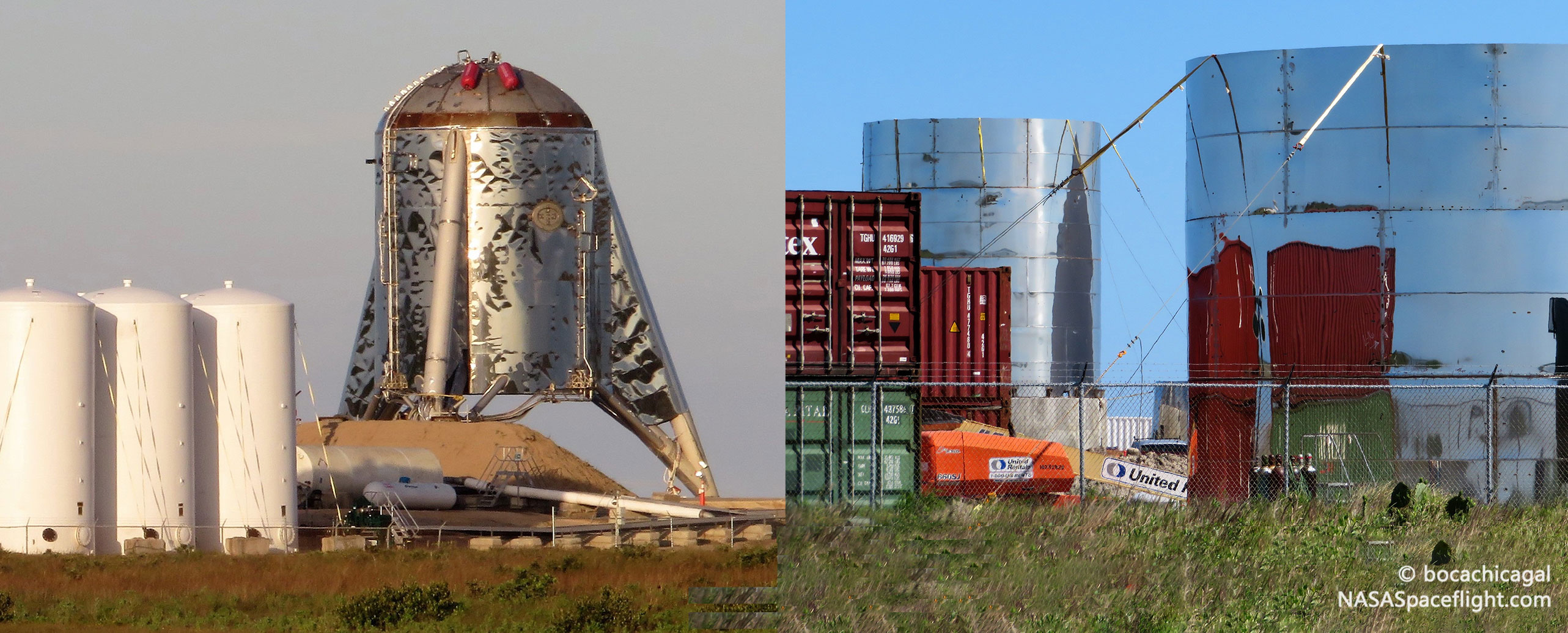 Boca Chica Starhopper and orbital Starship 040819 (NASASpaceflight – bocachicagal) edit 2