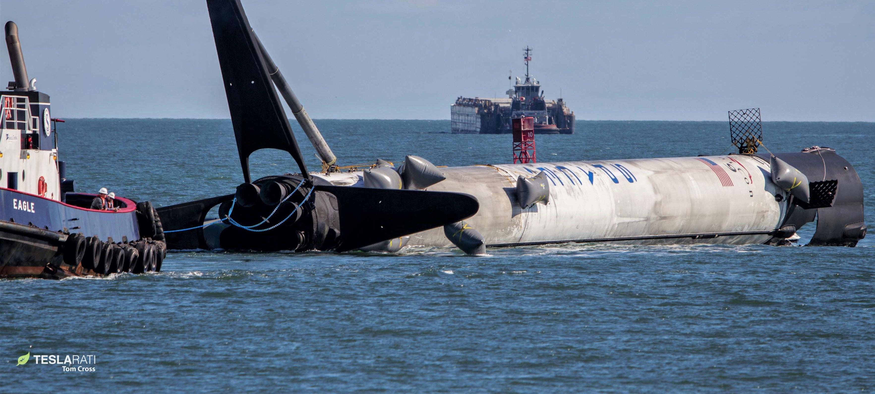 If SpaceX manages to recover Falcon Heavy center core B1055, it will be the second rocket to return to port as boat. (Tom Cross)
