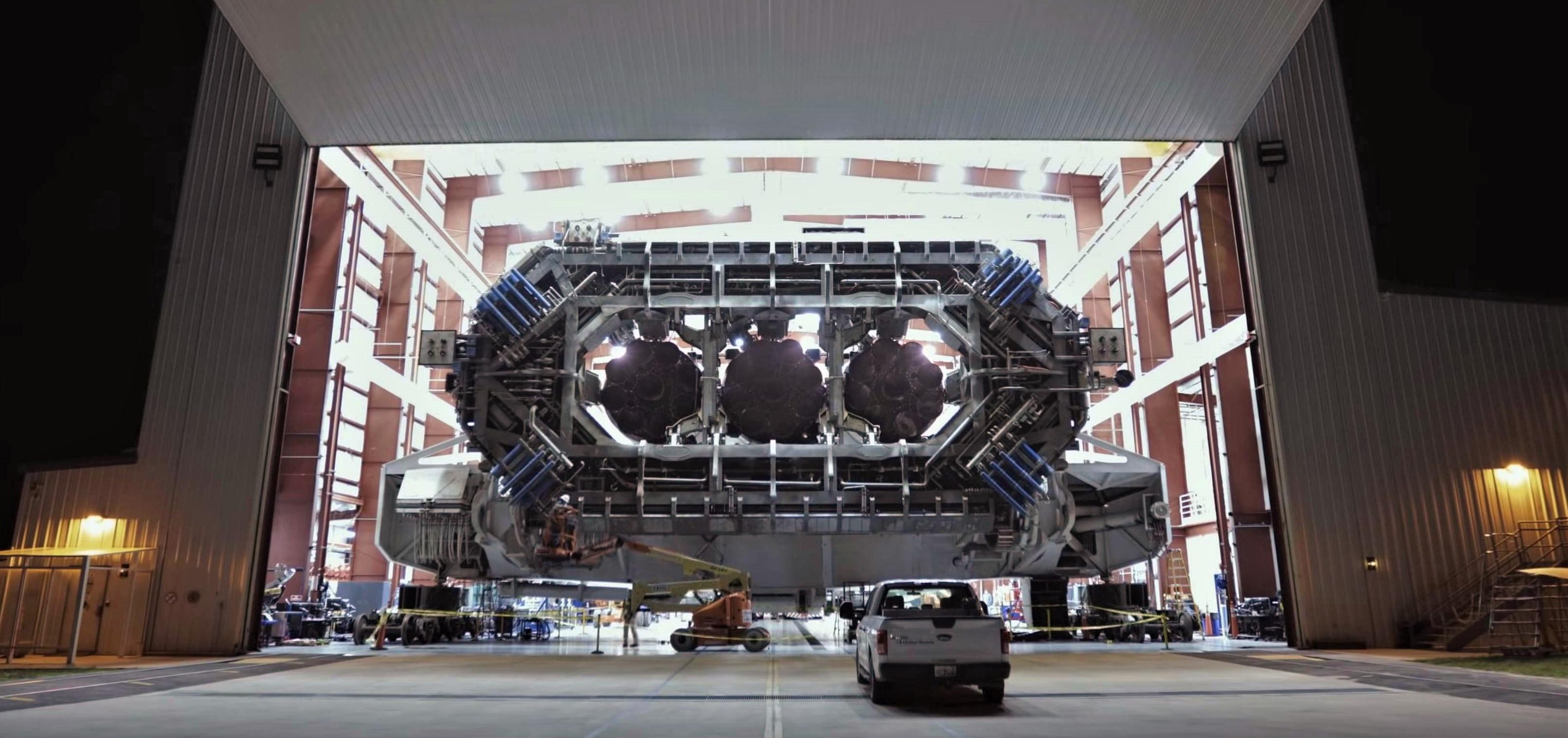 Falcon Heavy Flight 1 TE hangar rollout (SpaceX) 1 edit