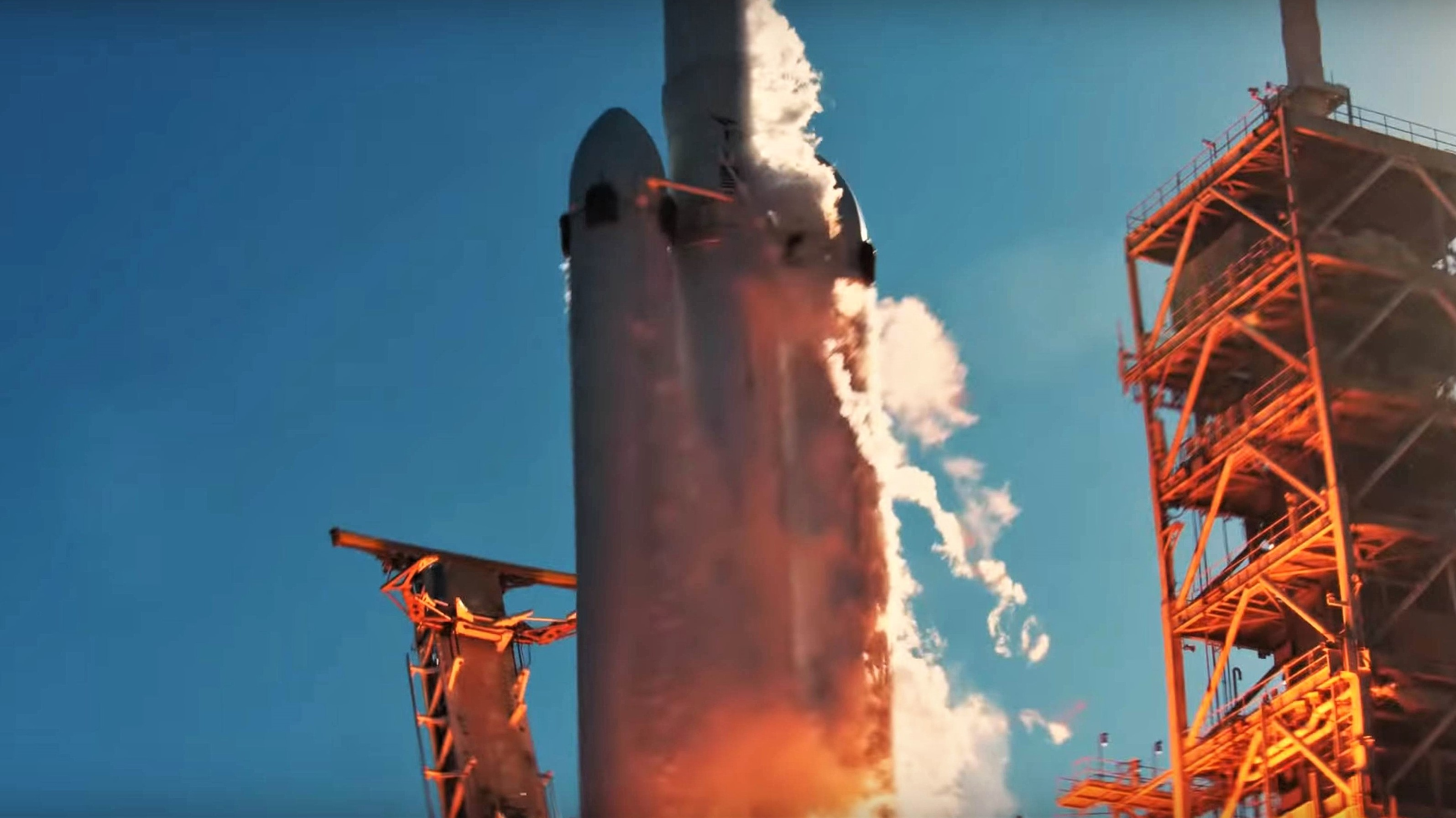Falcon Heavy Flight 1 liftoff (SpaceX) 5 edit