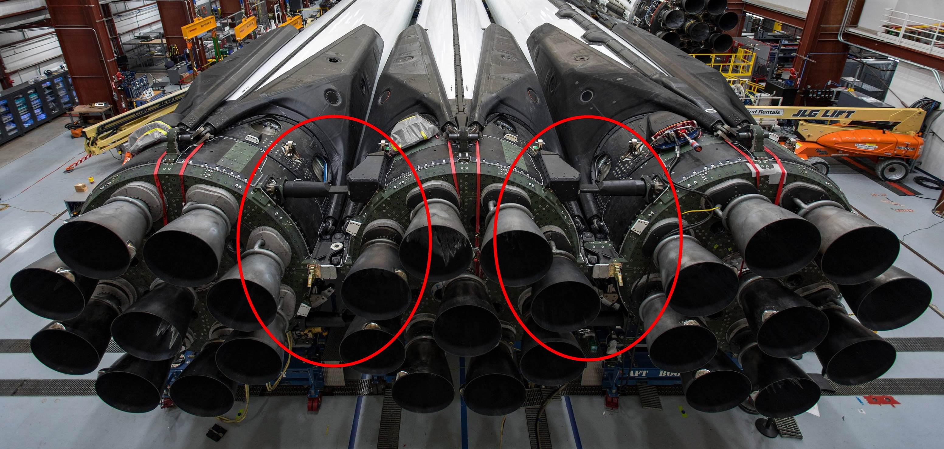 Falcon Heavy Flight 2 B1052 B1053 B1055 integration (SpaceX) full res 1 crop 2
