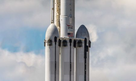 Falcon Heavy Flight 2. The booster in the middle - B1055 - was effectively sheared in half after tipping over aboard drone ship OCISLY. (Pauline Acalin)