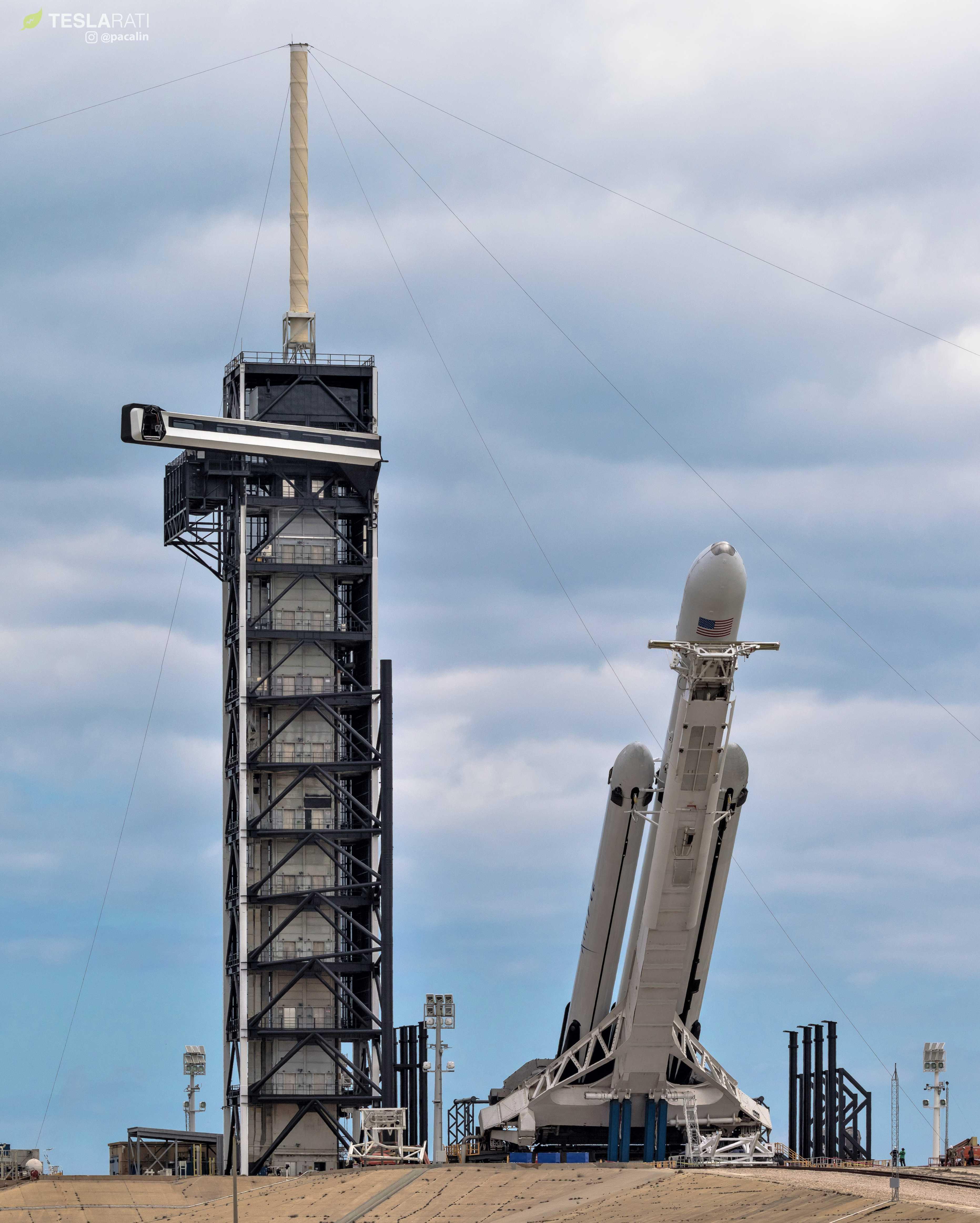 Falcon Heavy Flight 2 prelaunch 39A (Pauline Acalin) (7) edit (c)