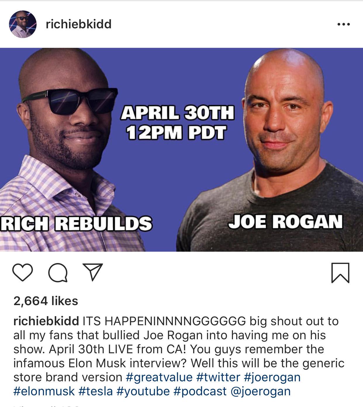 0df7ee55 Rich Benoit of Rich Rebuilds to appear on The Joe Rogan Experience April  30, 2019. | Image: Rich Benoit/Instagram