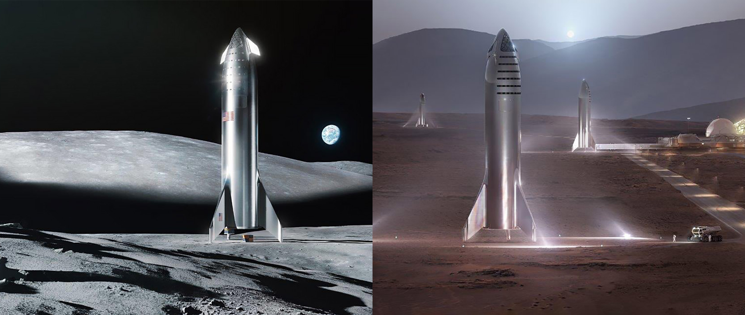 Steel Starship Moon and Mars renders (SpaceX) 1