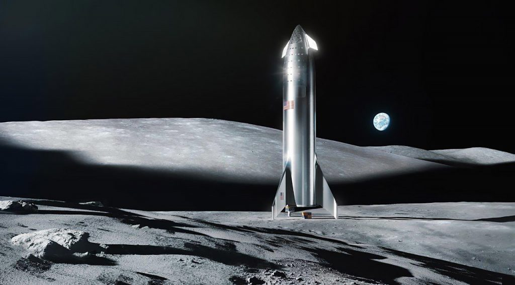 A steel Starship on the Moon. (SpaceX)