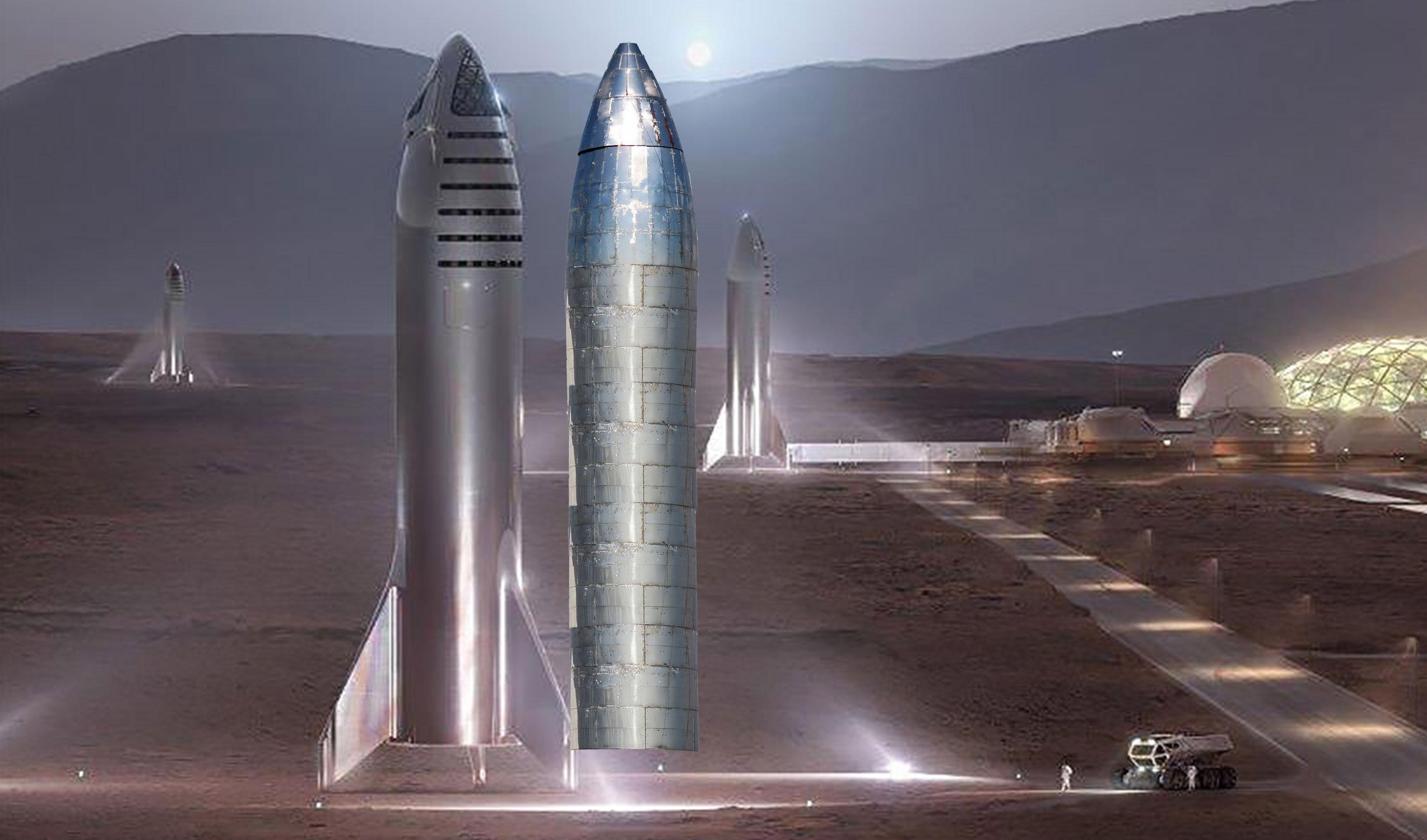 Boca Chica orbital Starship nose install vs Mars Starship (NASASpaceflight – bocachicagal) 2