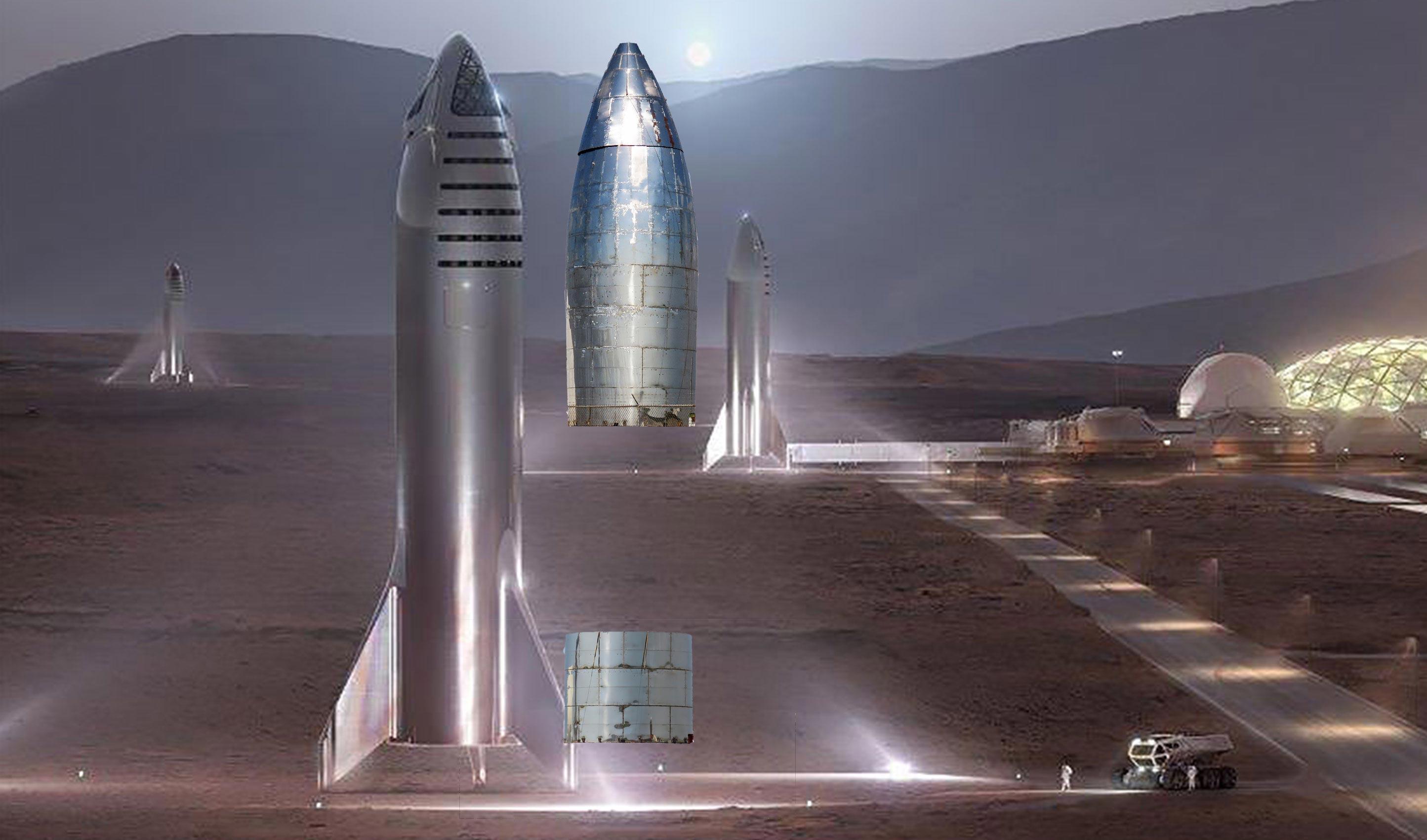 Boca Chica orbital Starship nose install vs Mars Starship (NASASpaceflight – bocachicagal) 3