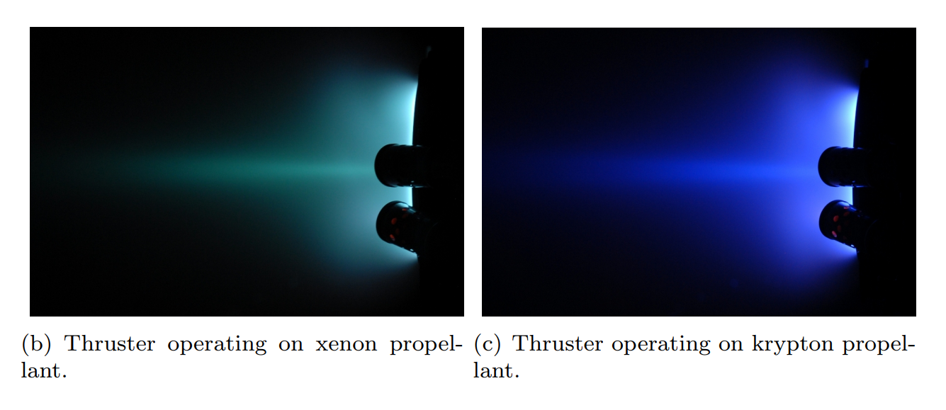 SPT-100 Hall effect thruster xenon vs krypton (Nakles Hargus Corey – 2011) 1