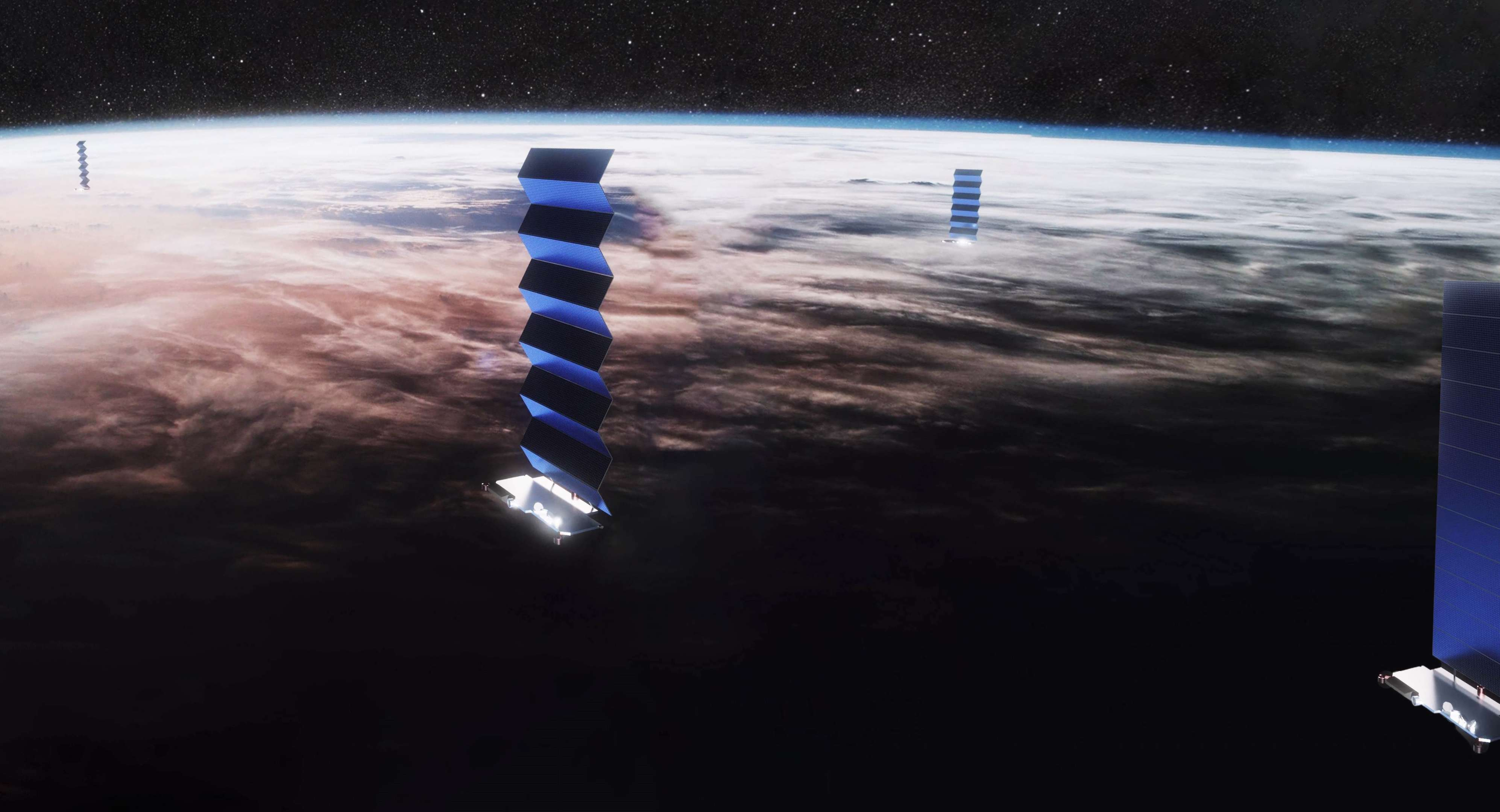 Starlink satellites deploy their solar arrays in this official visualization. (SpaceX)