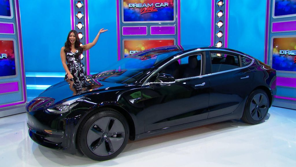 tesla model 3 picked for 39 the price is right s 39 iconic. Black Bedroom Furniture Sets. Home Design Ideas