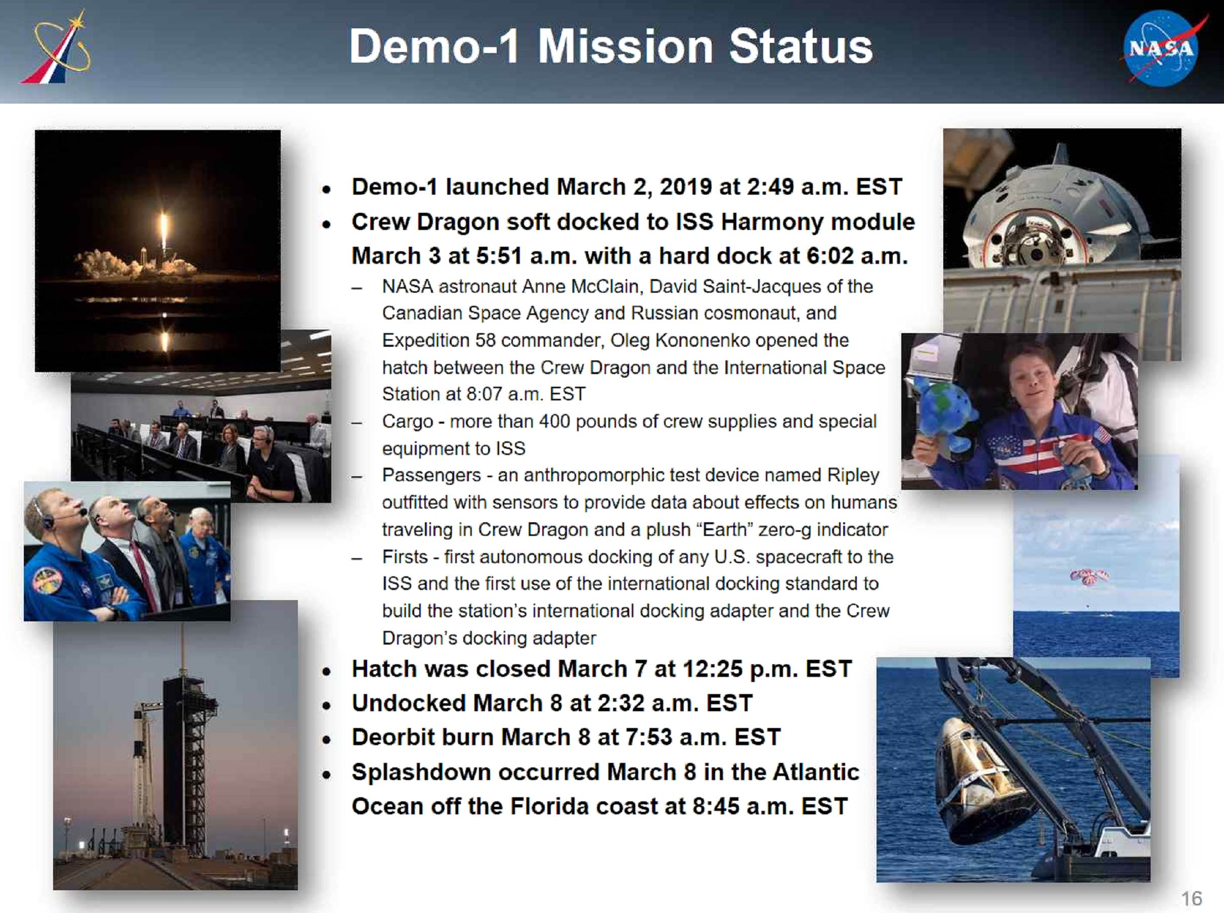 SpaceX DM-1 status Q2 2019 (NASA NAC) 1