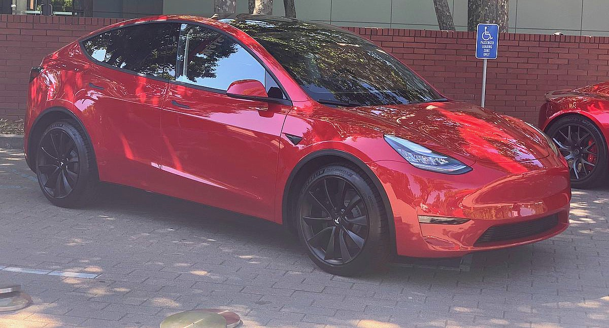 Tesla Model Y joins stunning red Roadster at annual shareholder meeting