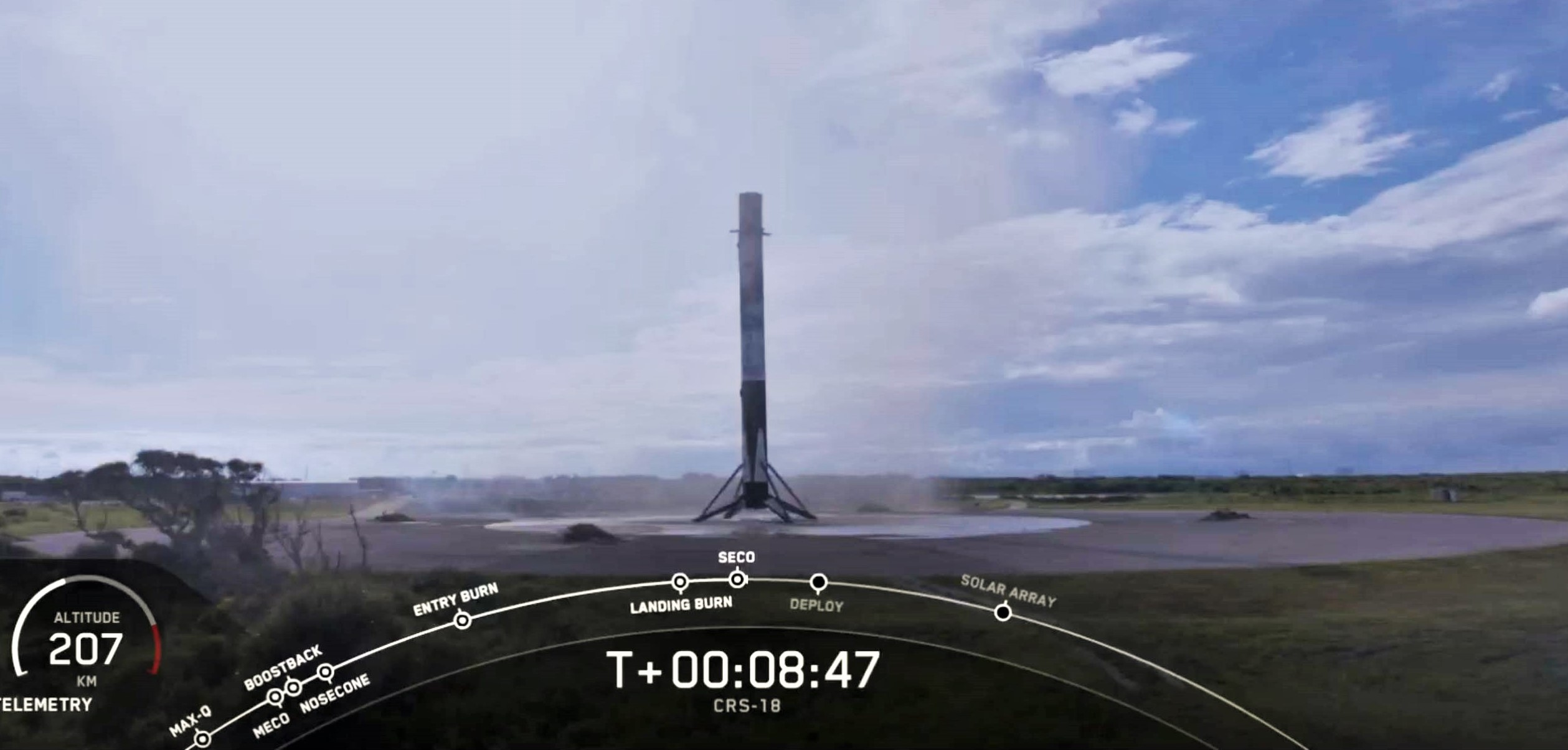 Cargo Dragon CRS-18 Falcon 9 B1056 (SpaceX) webcast 2 landing 5