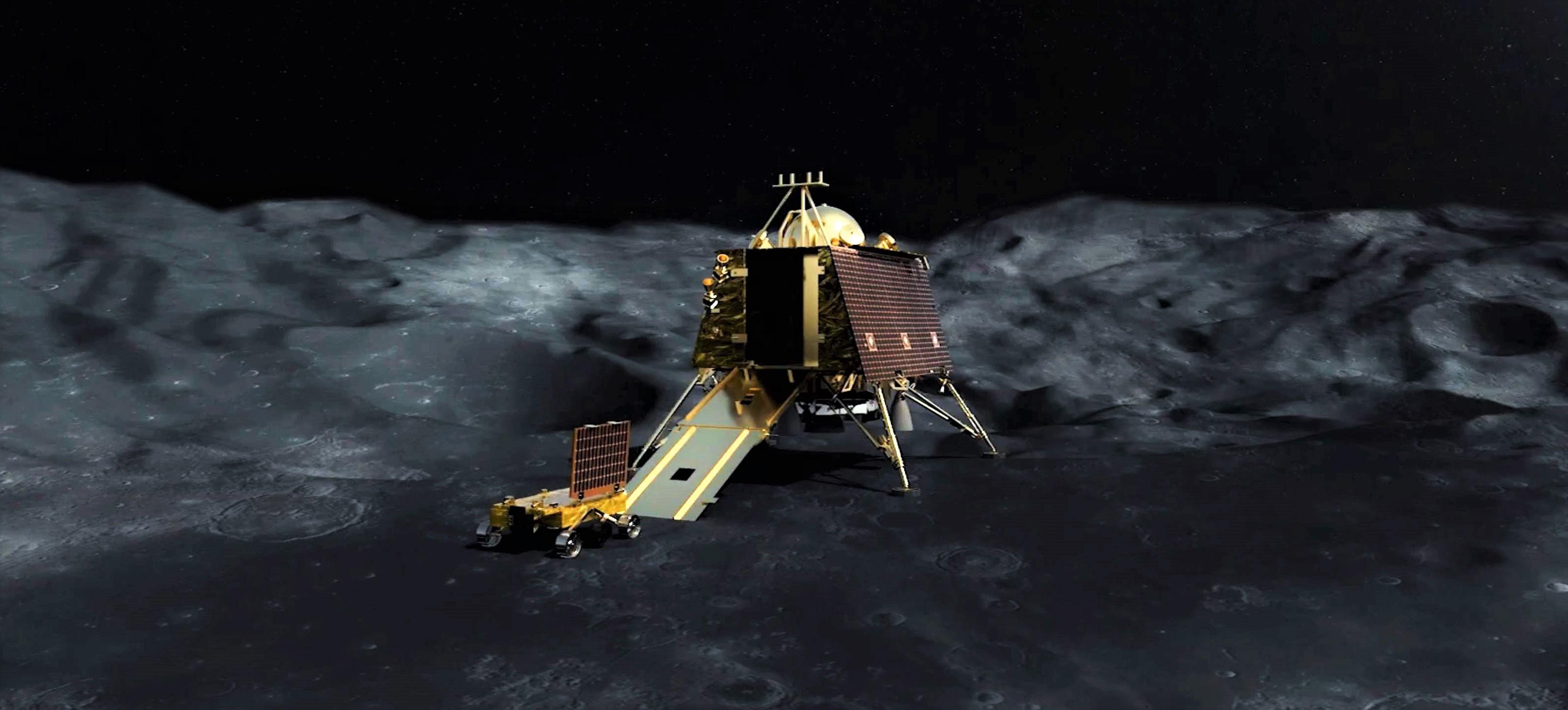 Chandrayaan-2 Pragyan rover Vikram lander (ISRO) render 2