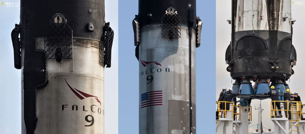 Three of SpaceX's thrice-flown Falcon 9 boosters are pictured here: B1046, B1048, and B1049. (Tom Cross & Pauline Acalin)