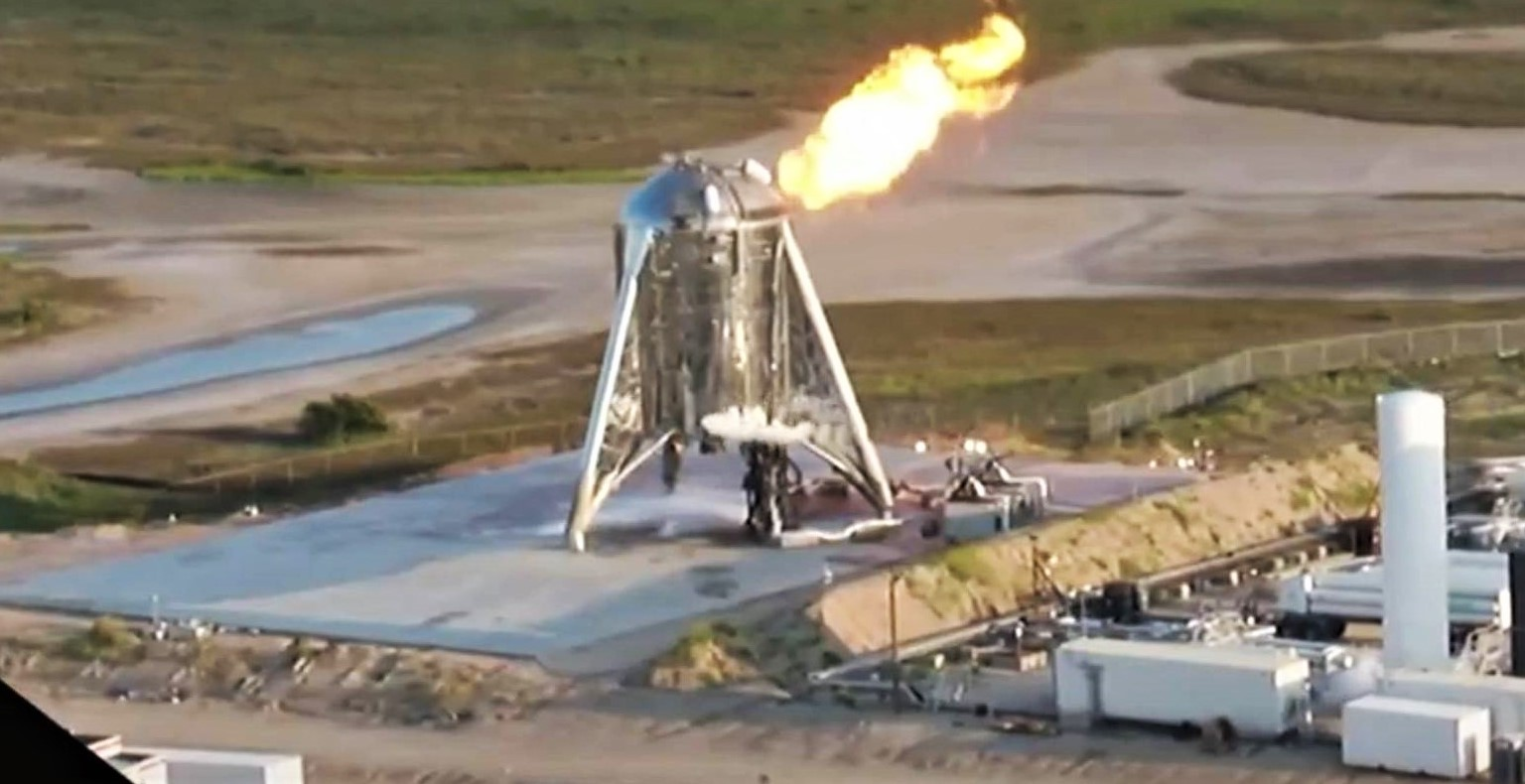 Starhopper 20m hop test (SpaceX) webcast 8 crop