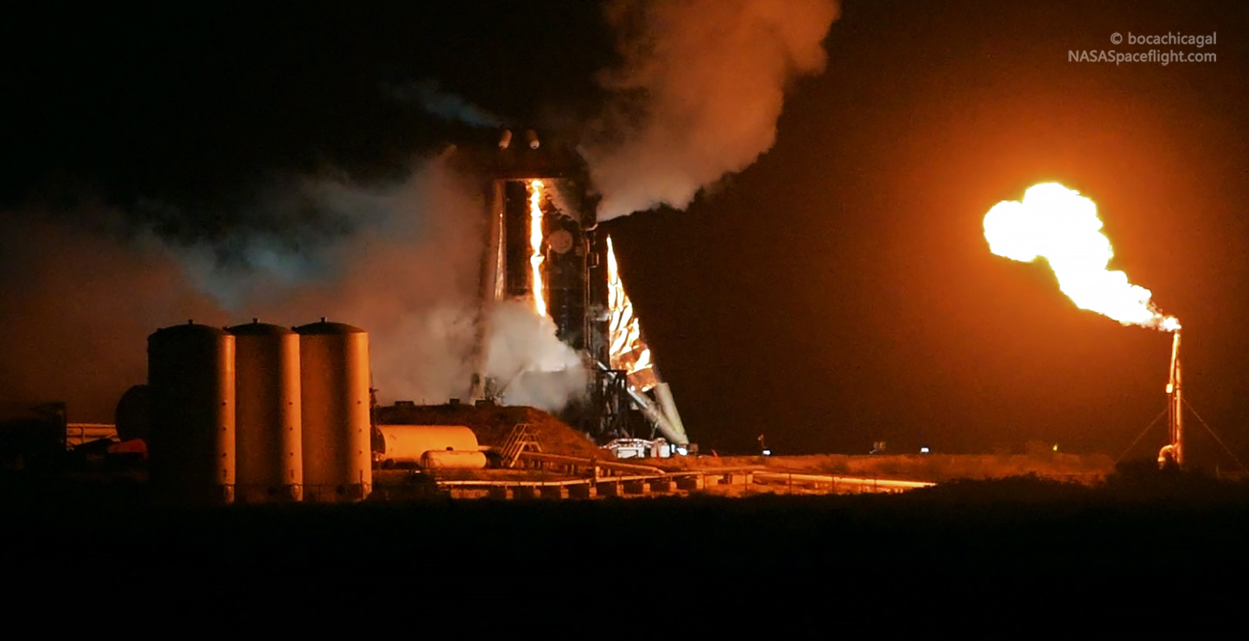 Starhopper Raptor SN06 preburner static fire 071519 (NASASpaceflight – bocachicagal) 2 crop