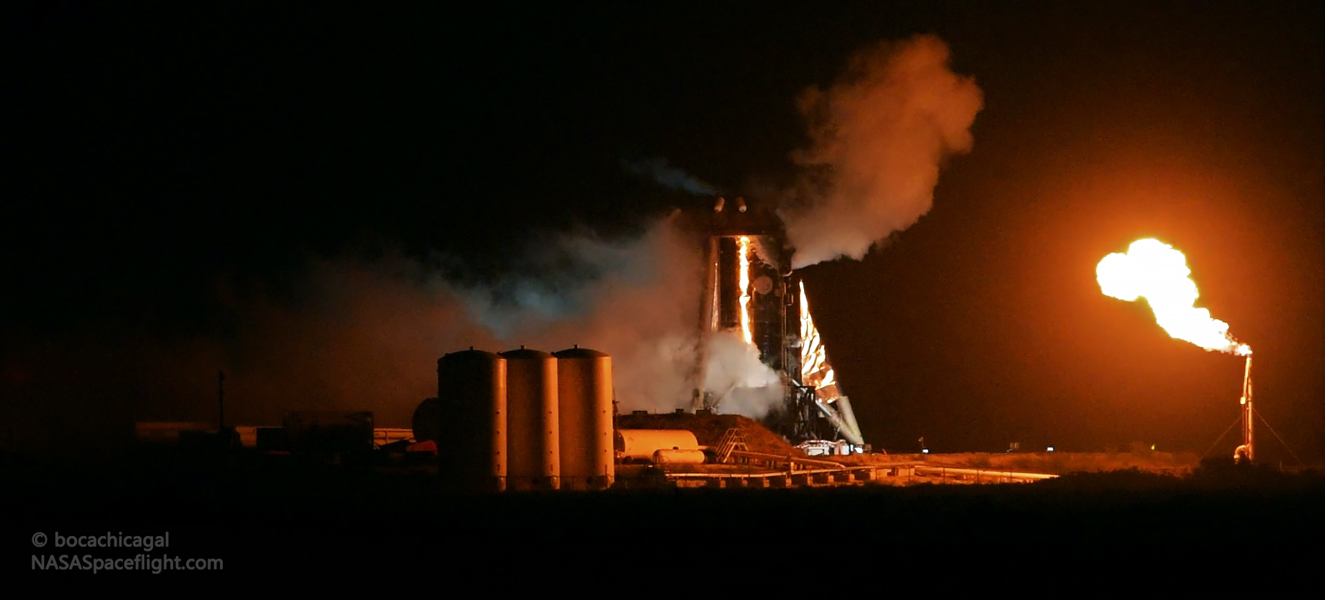 Starhopper Raptor SN06 preburner static fire 071519 (NASASpaceflight – bocachicagal) 2