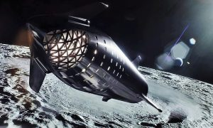 A steel Starship soars around the Moon in this official render. (SpaceX)