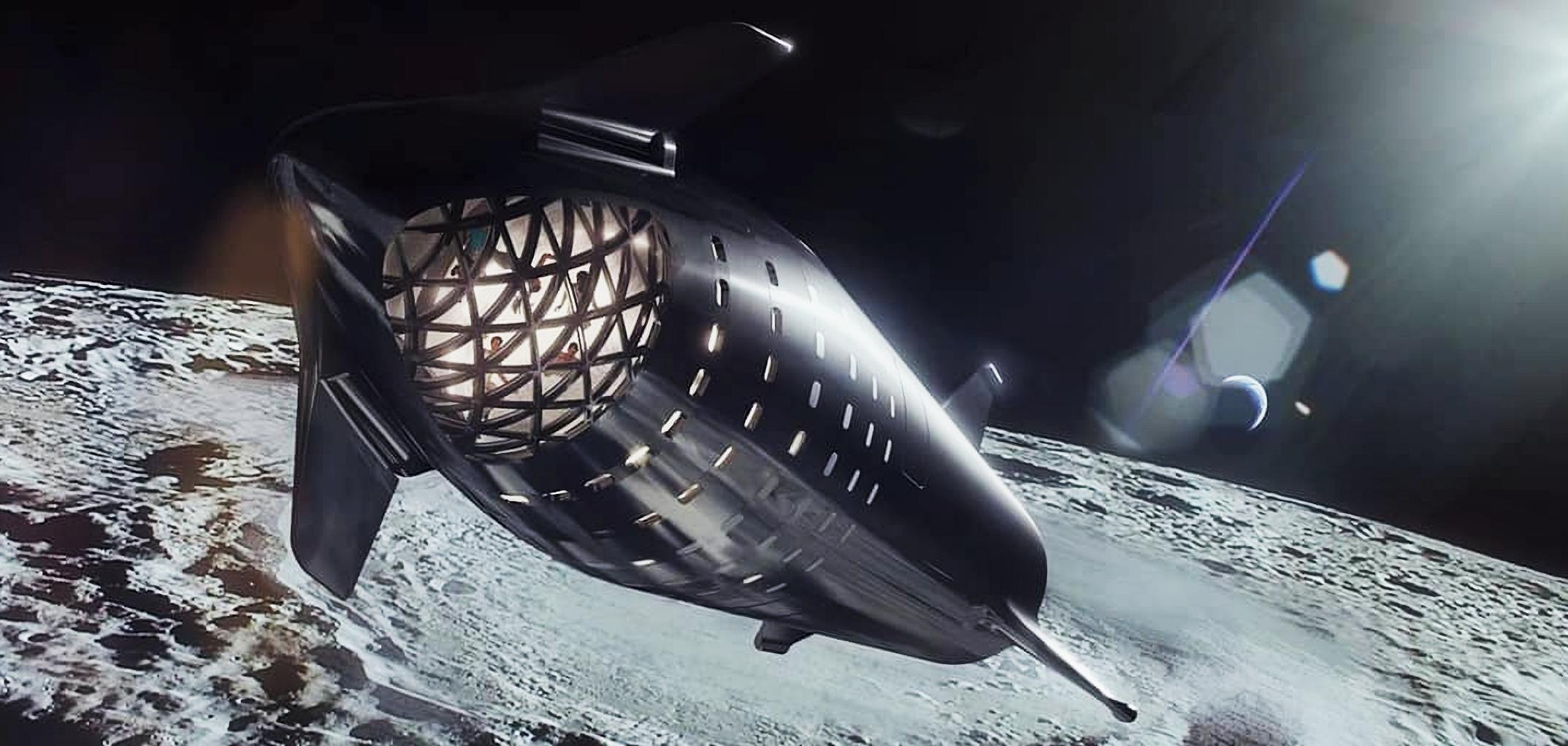 steel Starship Moon render (SpaceX) 2X 1 crop