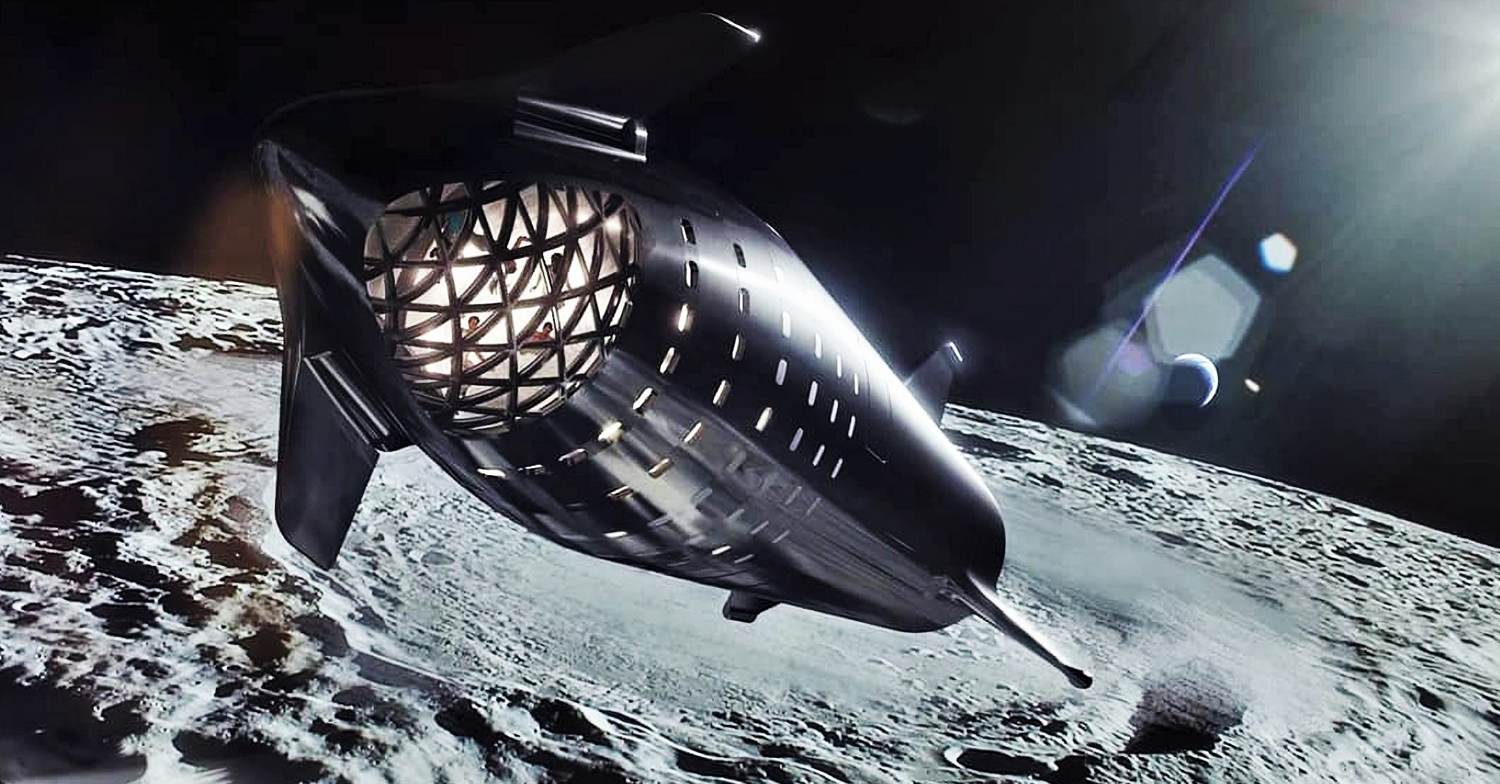 steel Starship Moon render (SpaceX) 2X 1