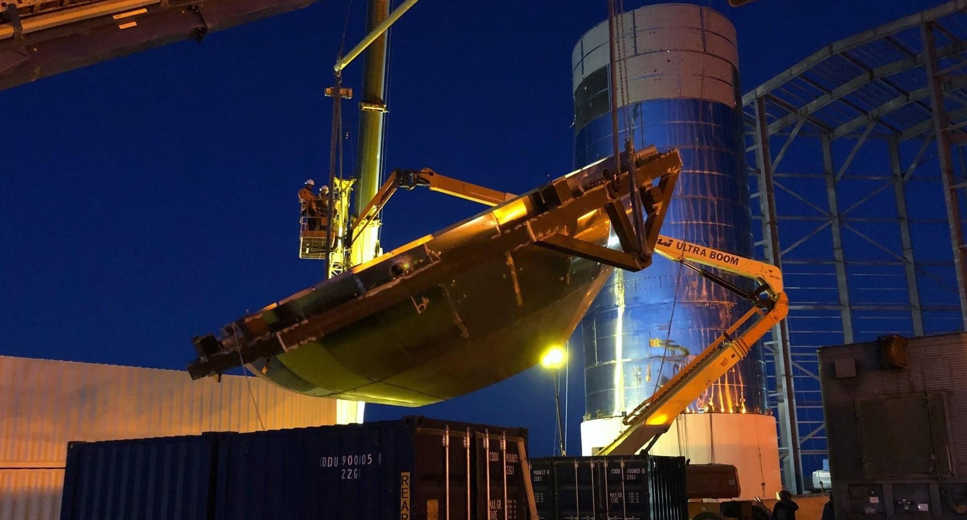 Boca Chica orbital Starship 080419 (Elon Musk) second bulkhead flip 1 crop