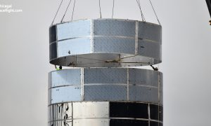SpaceX technicians install one of Starship Mk1's final ring sections on August 7th. On September 14th, a similar milestone took place with a combined ring and tank dome. (NASASpaceflight - bocachicagal)