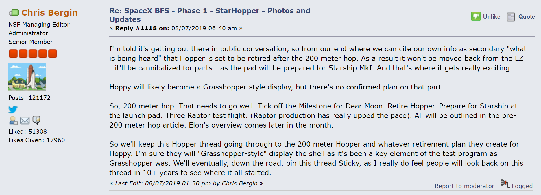 Chris Bergin Starhopper retiring 080719 (NASASpaceflight forums) 1