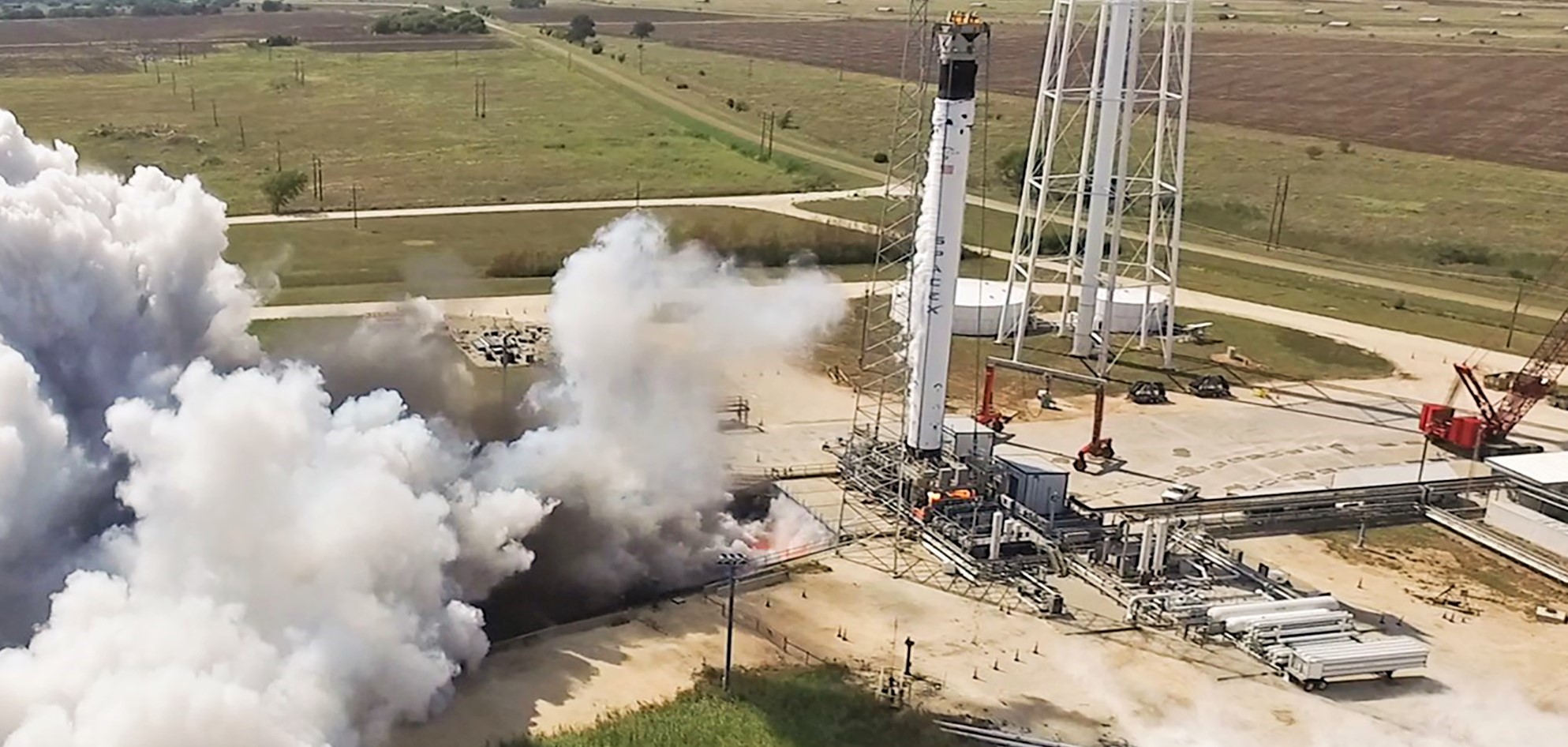 Falcon 9 B1058 Crew Dragon Demo-2 static fire McGregor TX 082919 (SpaceX) 1 crop