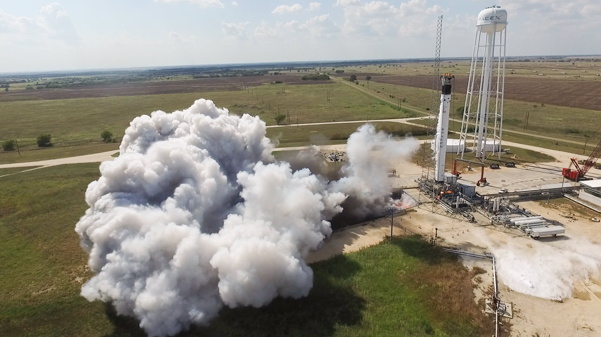 Falcon 9 B1058 Crew Dragon Demo-2 static fire McGregor TX 082919 (SpaceX) 1
