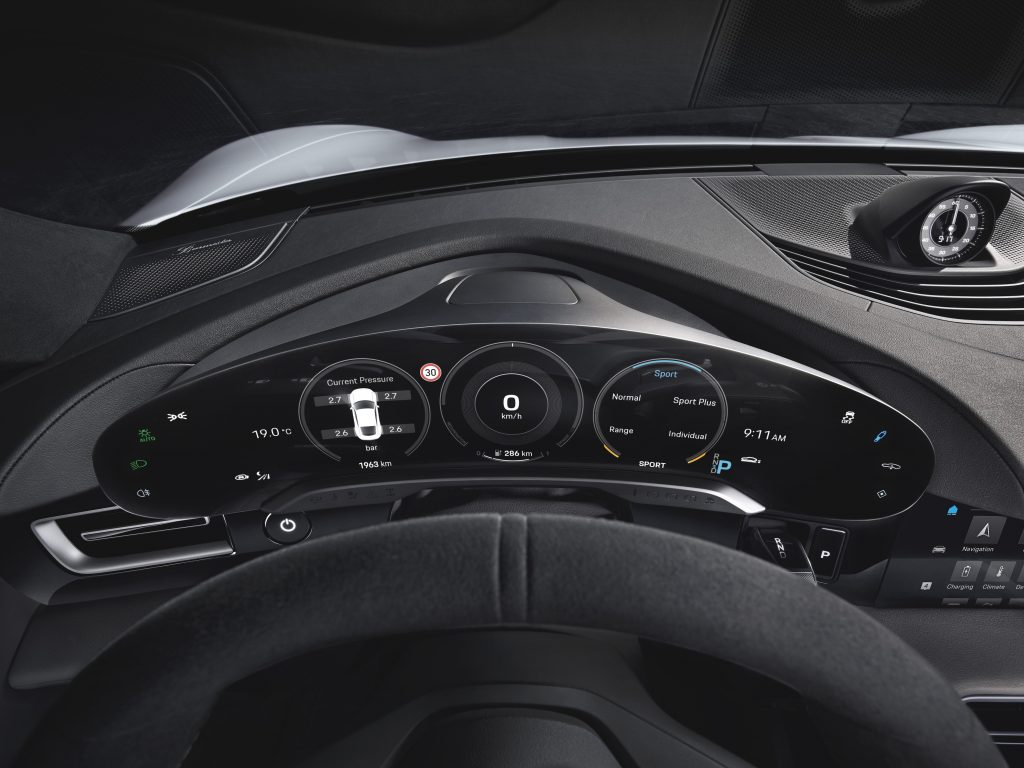Porsche Taycan curved digital touchscreen instrument cluster